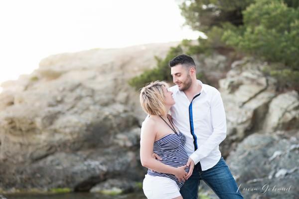 Séance de grossesse au coucher de soleil: Elodie&Fabian