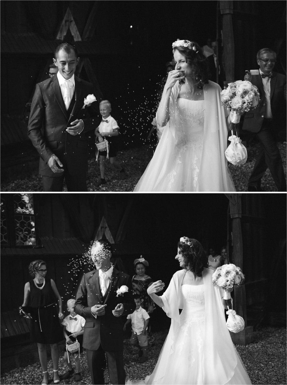 Ris à la sortie de l'église_Lucia Gohaud Photographe Var bebe mariage