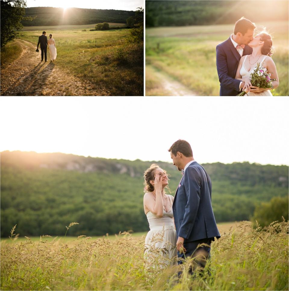 beau couple de mariés au coucher de soleil_Lucia Gohaud Photographe Var bebe mariage