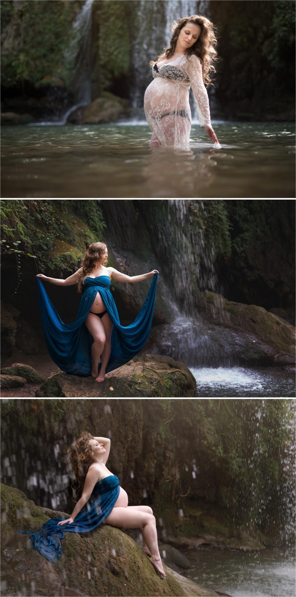 séance de grossesse féerique à la cascade de grand baou
