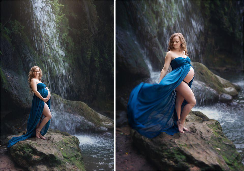 magnifique future maman à la cascade