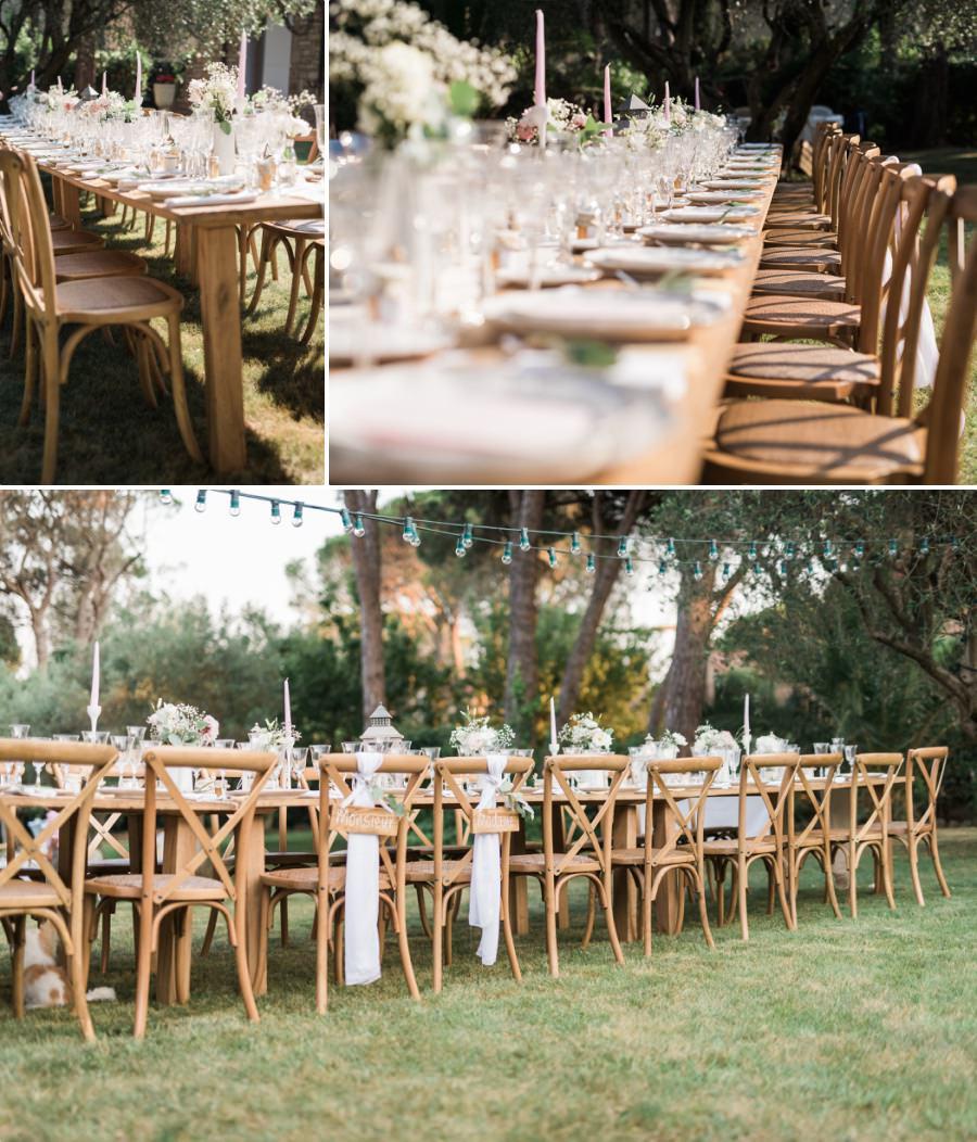 Magnifique table de mariage extérieur