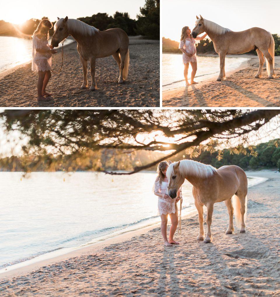 Séance de grossesse avec un cheval
