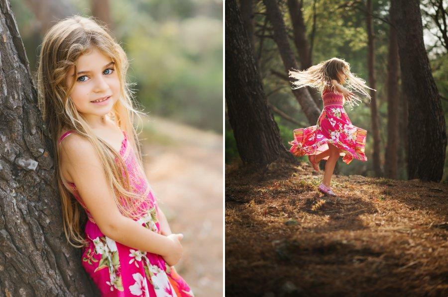 petite fille dans les rayons de soleil