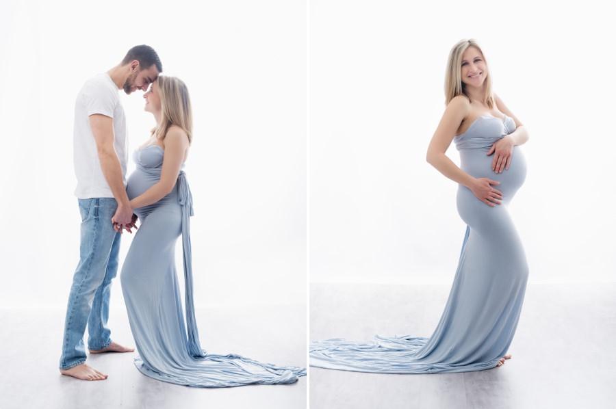 joli couple pendant la séance de grossesse au studio