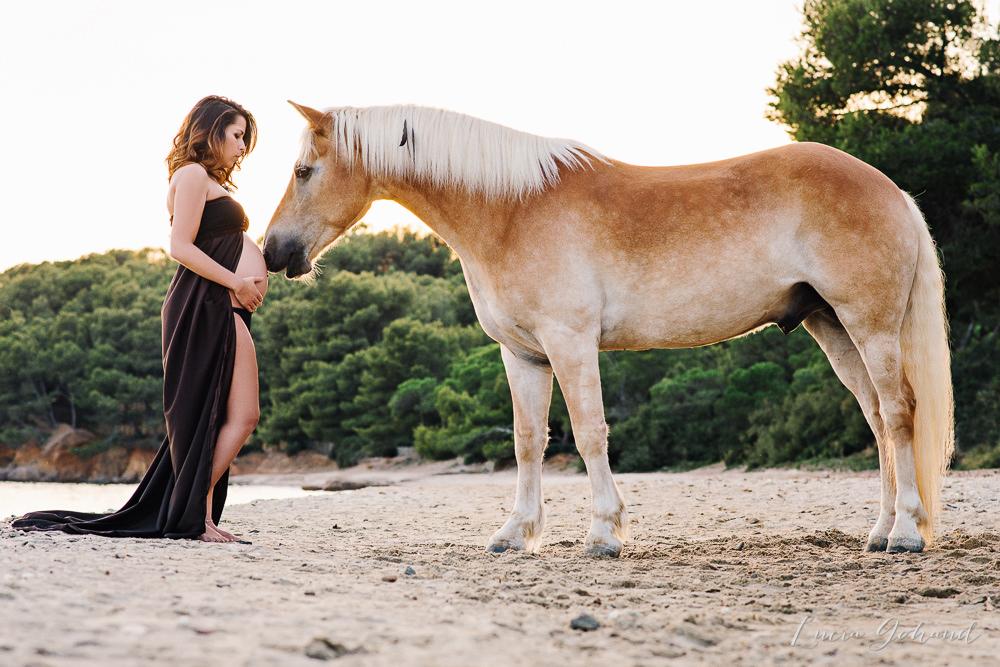 Séance grossesse avec cheval