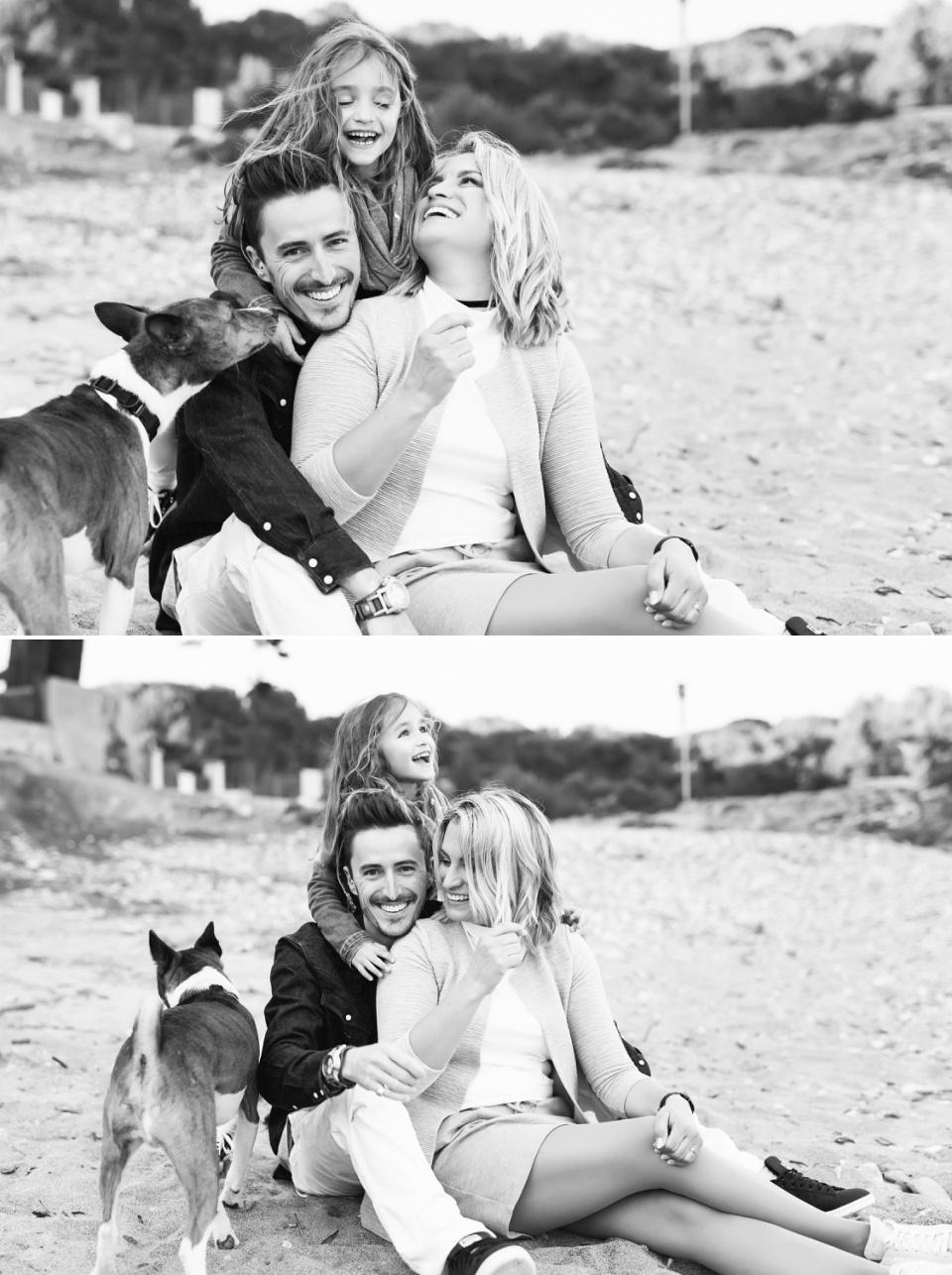 séance photo de famille avec un chien