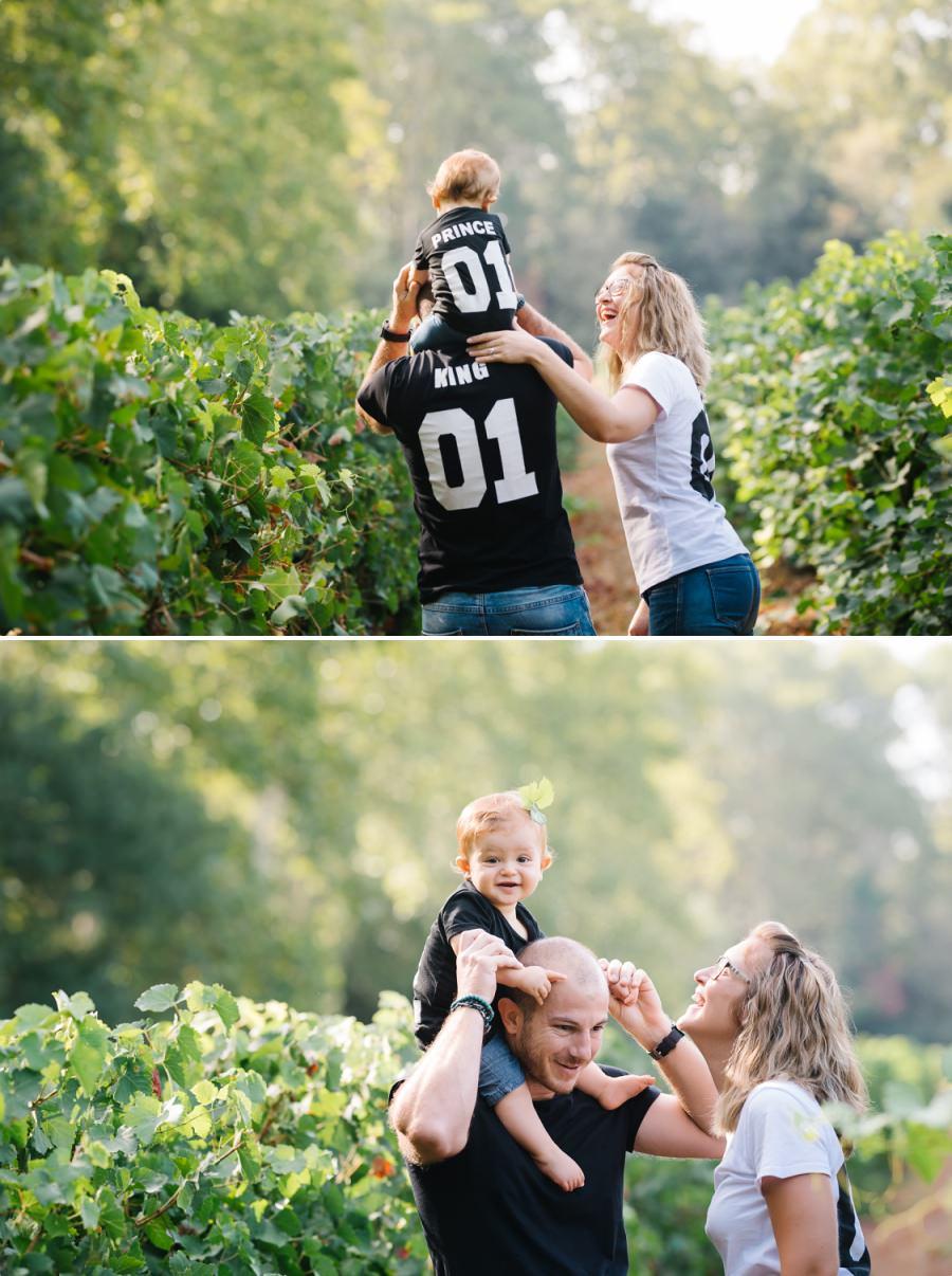 Séance photo en famille dans les vignes