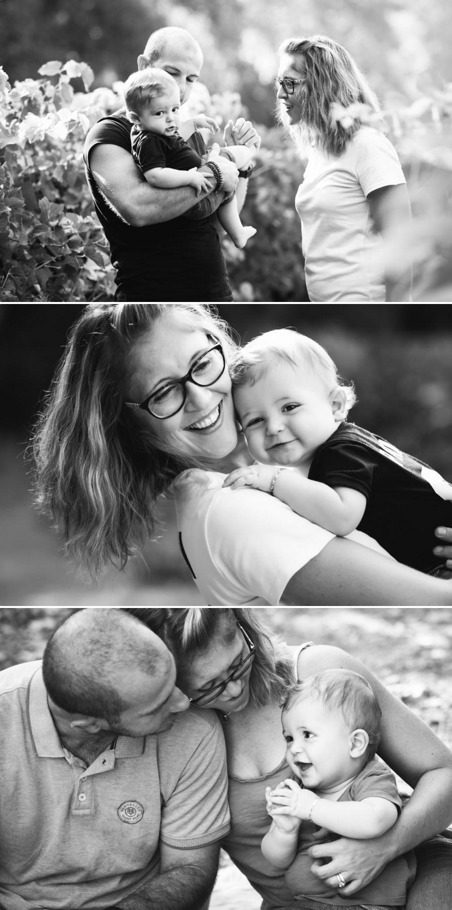 portraits de famille en noir et blanc