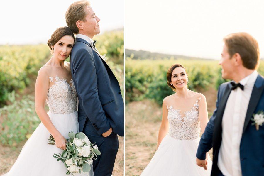 Mariés en séance dans les vignes
